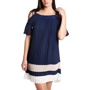5 for $25 Endless Rose Navy Pleated Dress